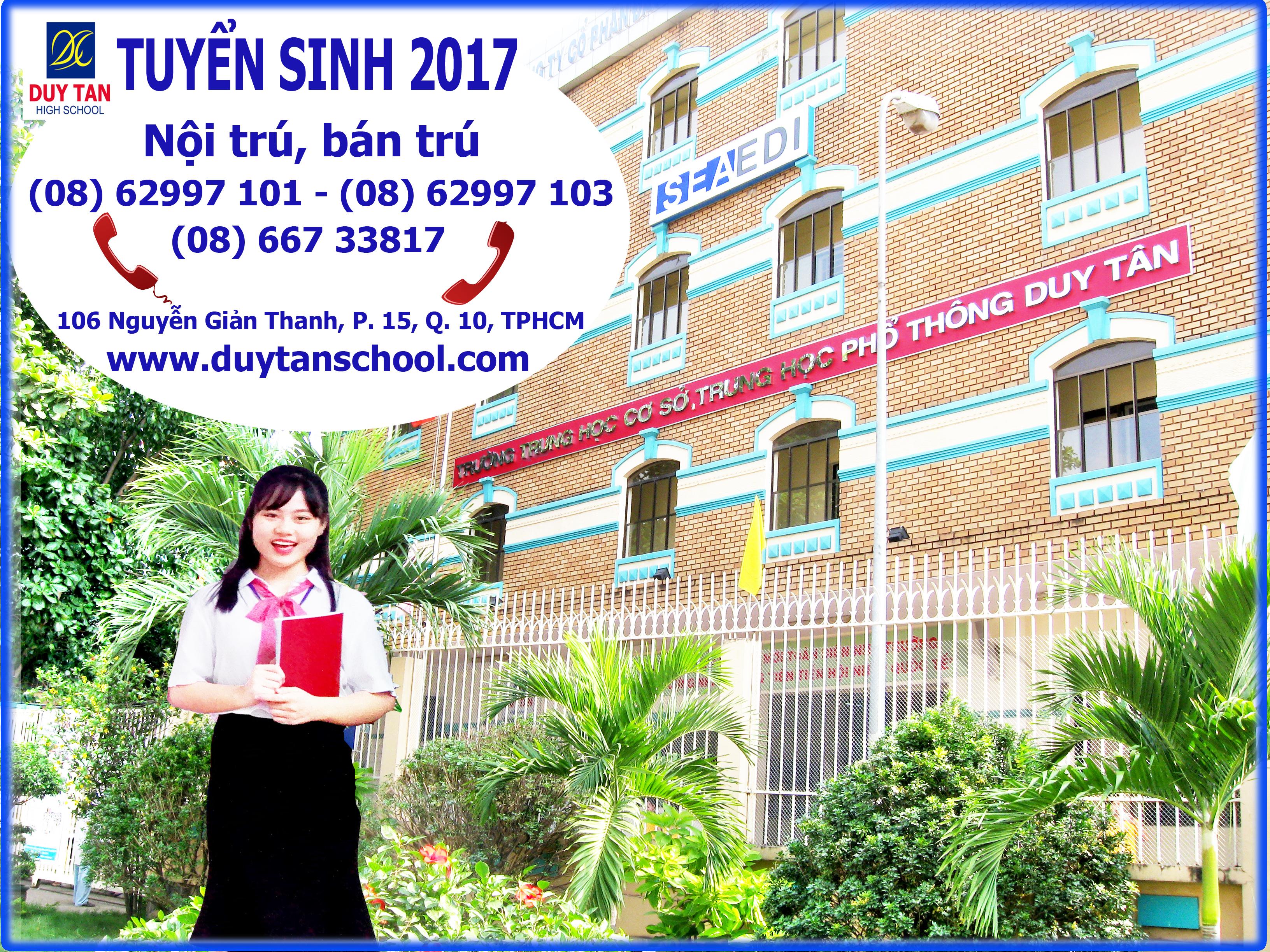 Trường THCS, THPT DUY TÂN tuyển sinh năm học 2017-2018
