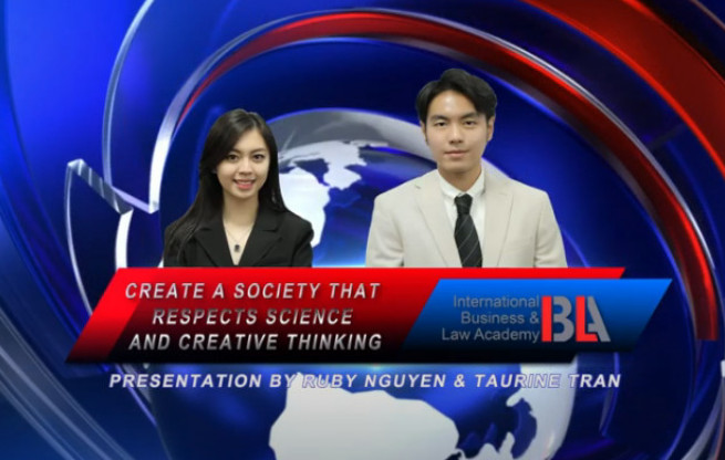 CREATE A SOCIETY THAT RESPECTS SCIENCE & TECHNOLOGY - qua phần trình bày của Ruby Khánh Linh và Taurine Trần
